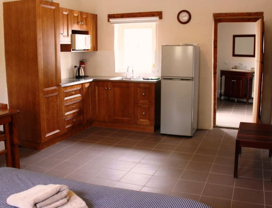 The kitchenette includes an induction cooktop and microwave, and there is also a BBQ outside.