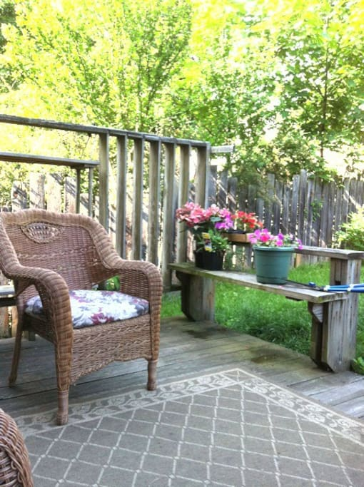 Back yard space, where you can grille and enjoy the pool.