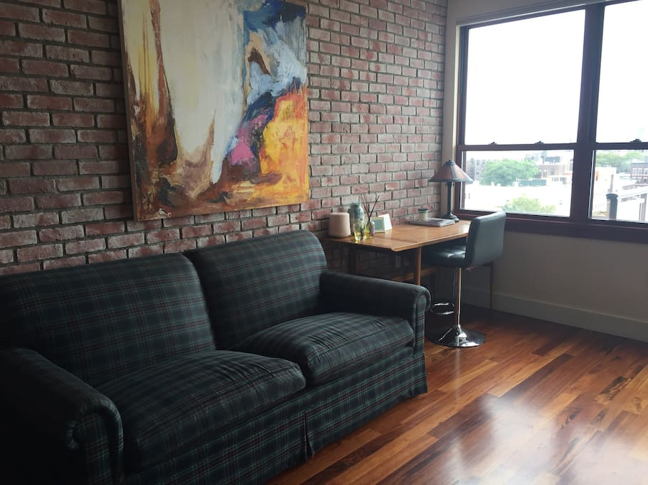 Living room with workspace