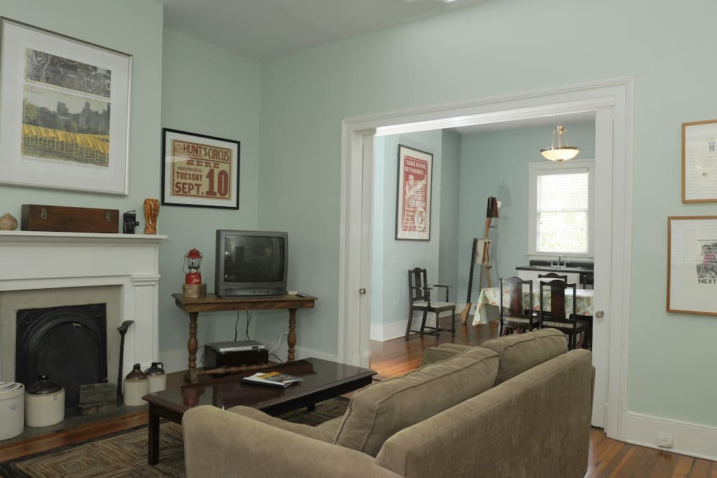 Living Room and Pocket Doors to Kitchen/Dining Room