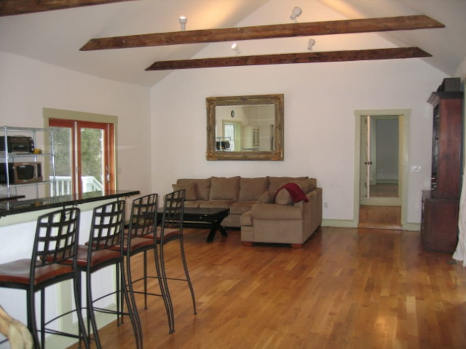 Large great room opens to deck