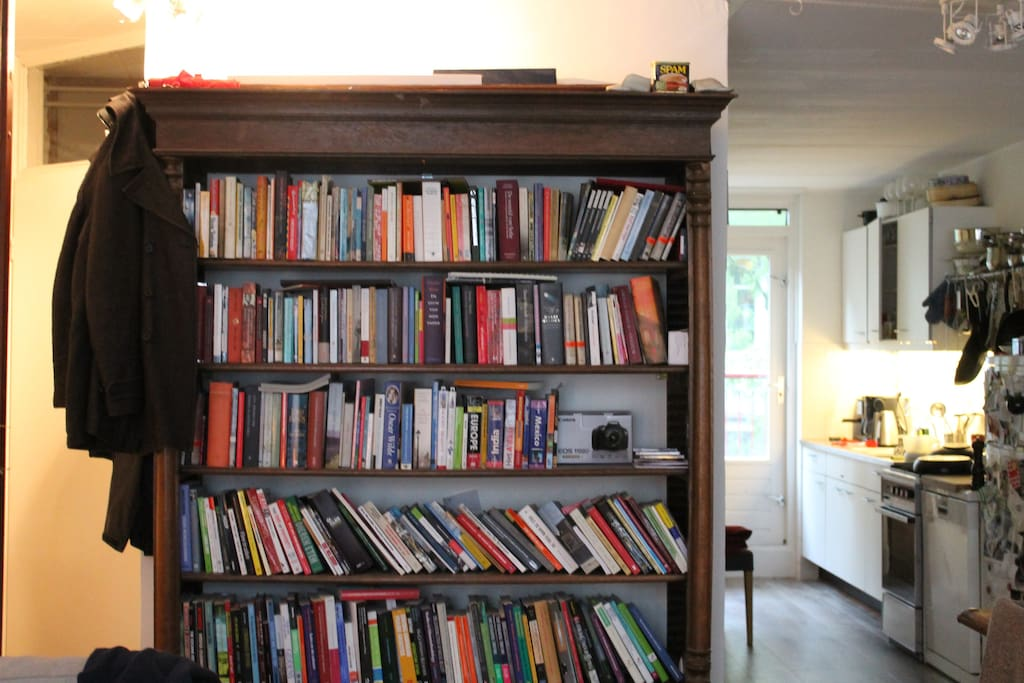 Books and the kitchen.