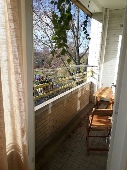 sunny balcony with a view of lake for your relax time