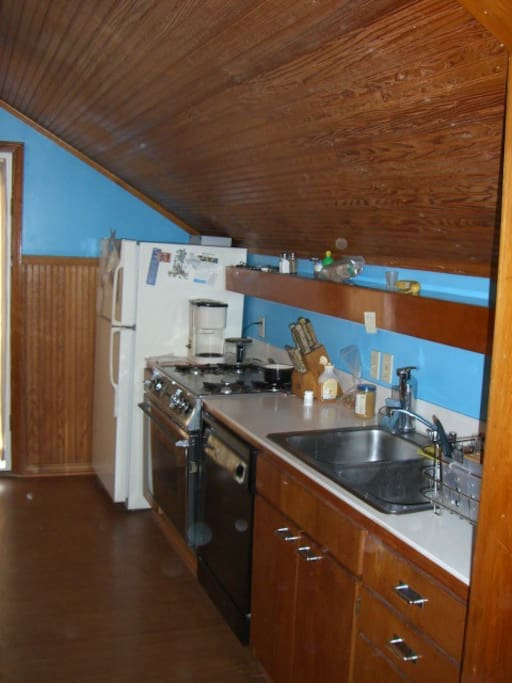 Kitchen with gas range and oven, dishwasher, microwave, blender, ice maker.