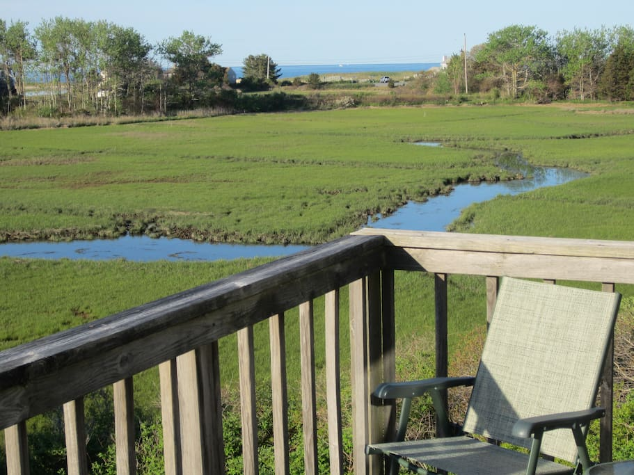 view from upper deck showing Ridgevale Beach parking lot and Nantucket Sound