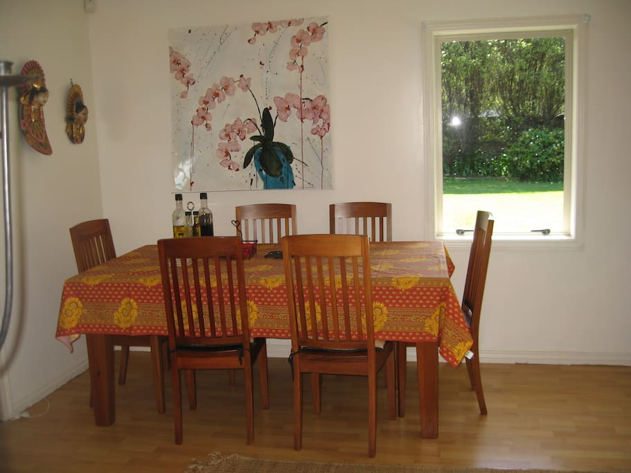 Dining room. Table extends to fit 10 comfortably.