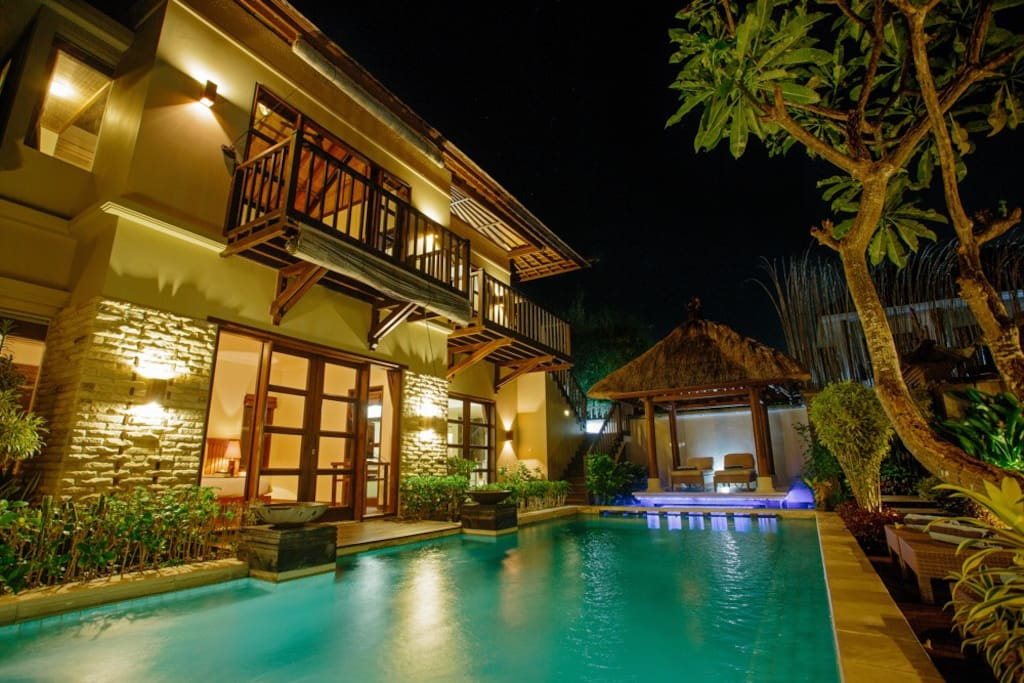 Swimming Pool with gazebo and garden view