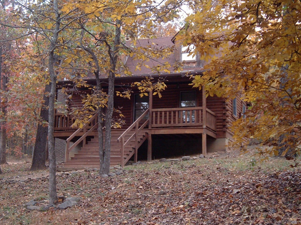 Front view of one of the cabins in the fall.