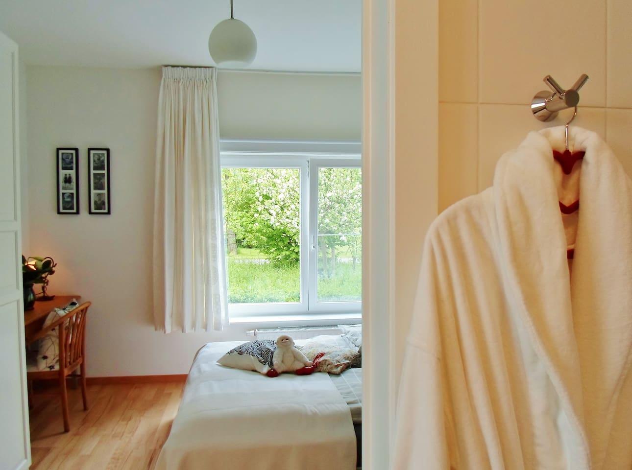 Ihr Gepflegtes und gemütliches Zimmer. Bett 160x 200 cm. Privaten  Badezimmer.