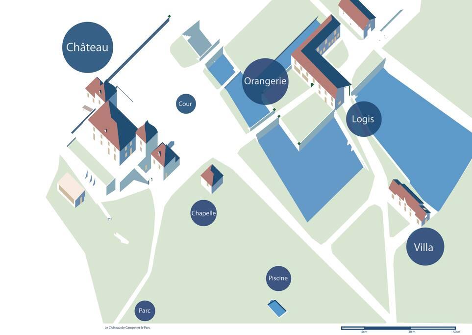 Plan du site, parc 10ha
