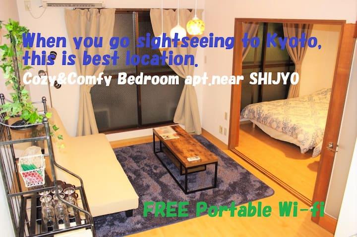 2-A central kyoto cozy&comfy bedroom apt.FREE WIFI