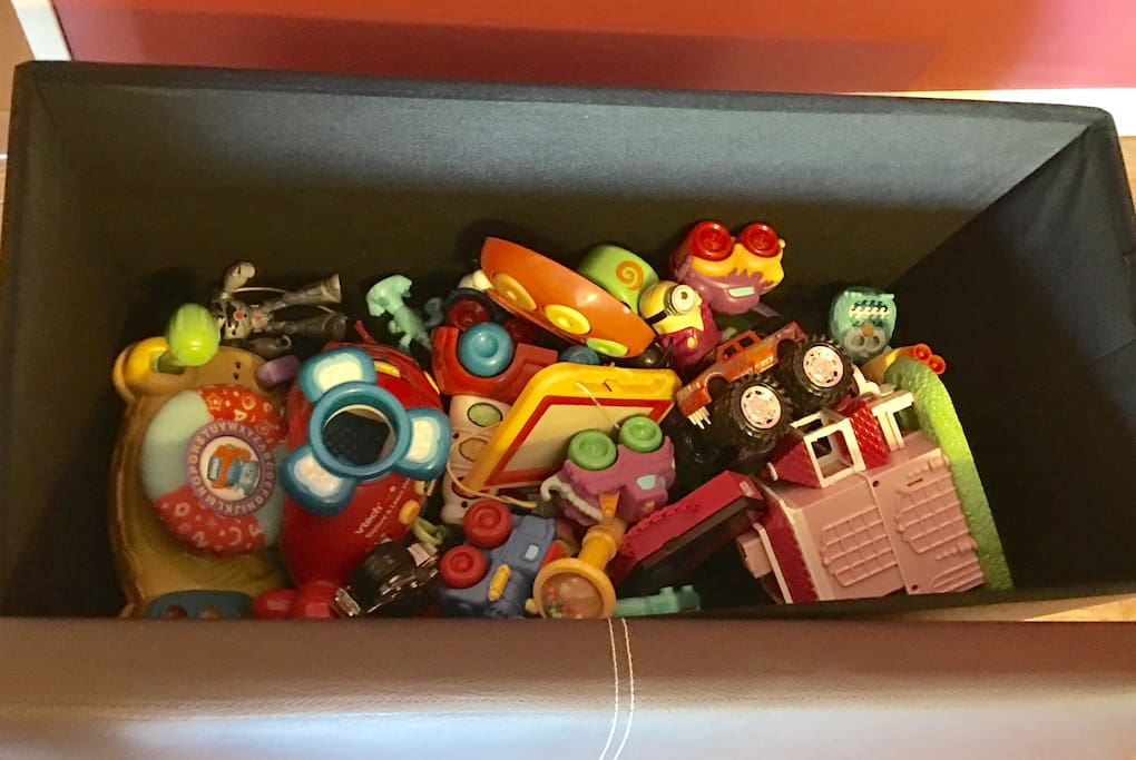 Our toy collection. My 2-year-old son wants to take these toys home he has so much fun. But we don't let him.