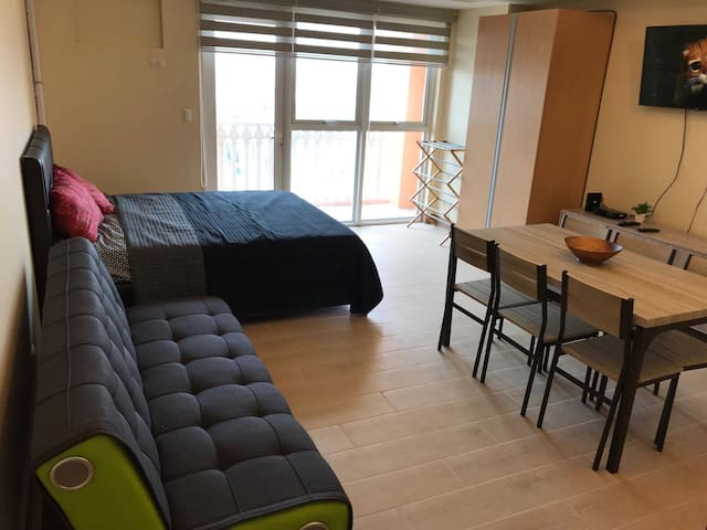 A big double bed and a sofa-bed for a total of 4 persons