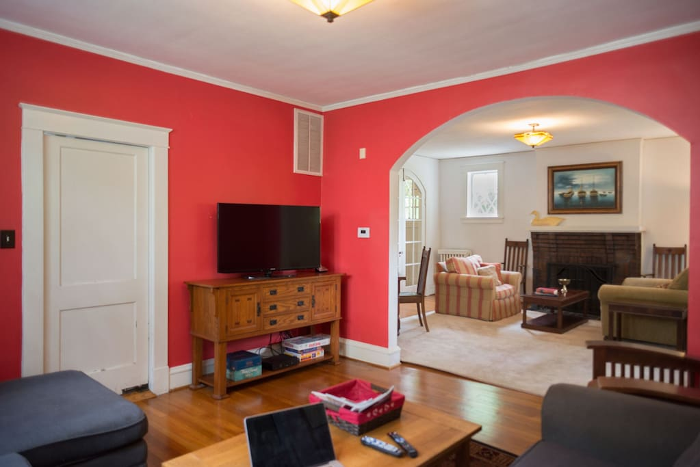 The family room opens onto the living room and the kitchen.  Grab a snack!