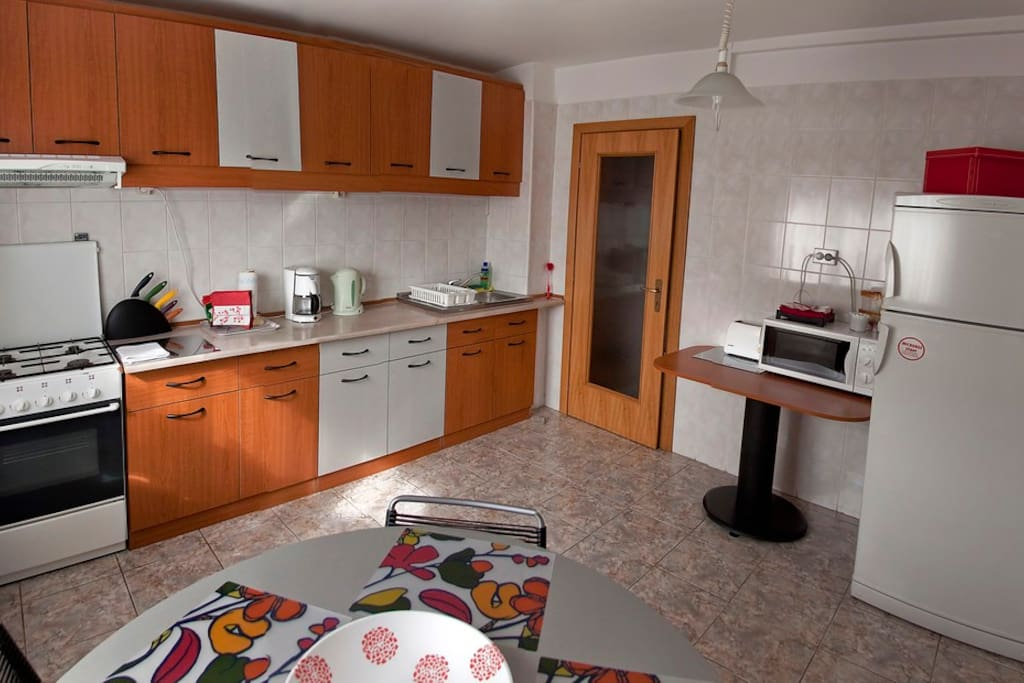 Kitchen (fully equipped kitchen with appliances, such as cooking stove, hood, microwave oven, toaster, coffee maker, refrigerator)