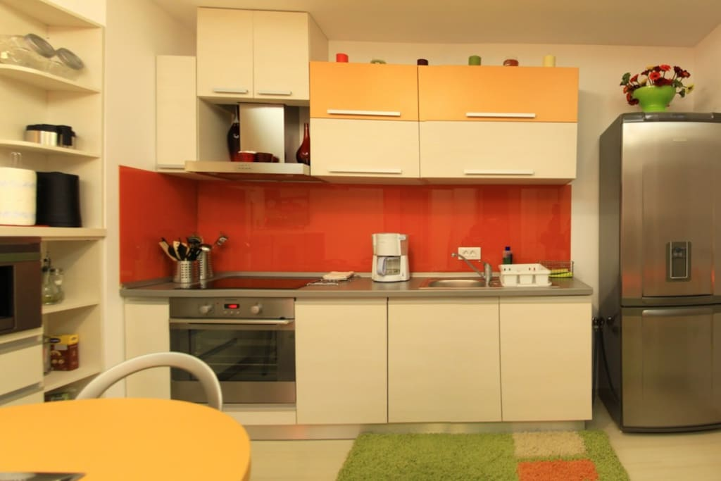 Fully equipped kitchen with new appliances, such as cooking stove, hood, microwave oven, toaster, coffee maker, refrigerator