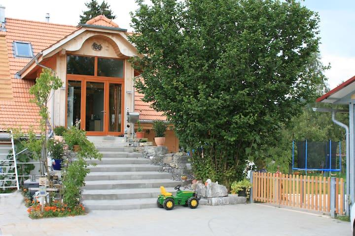 unser Eingang mit grossem Vorplatz! Hier hat es Platz für Ihr Fahrzeug oder um zu spielen.