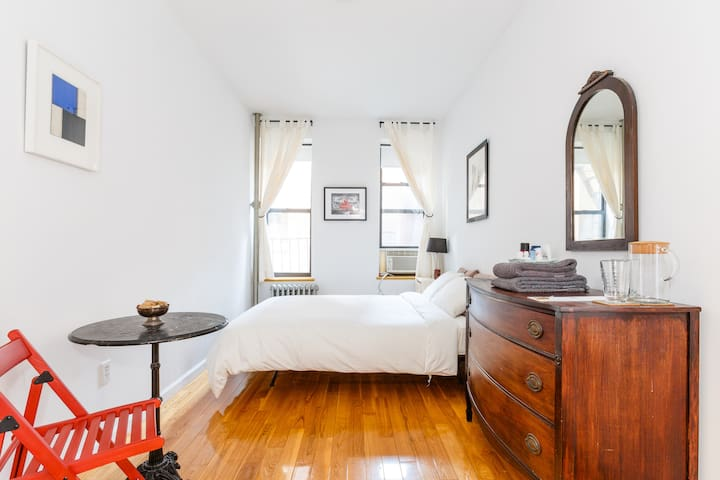 The bedroom is larger than most in Manhattan. Plenty of space and privacy.