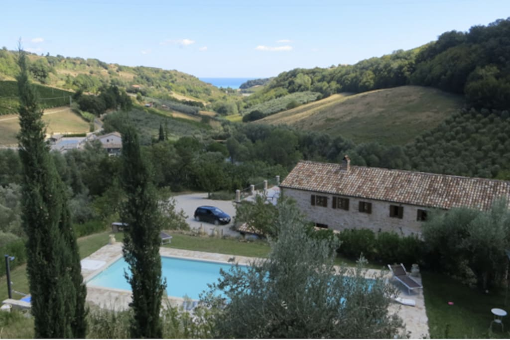 View from above the pool to the Adriatic coast