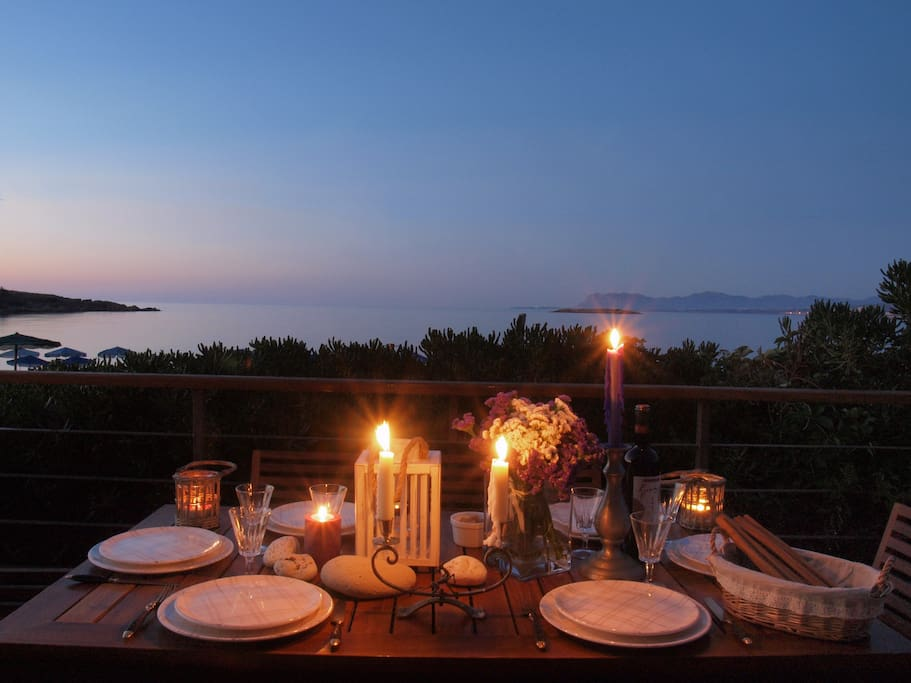 at the evening-outdoor dinning area view
