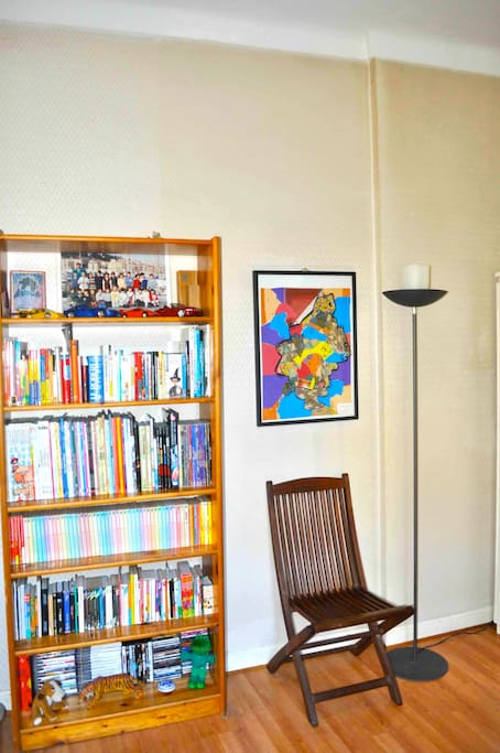 The room's bookcase : mostly comic, most in French.