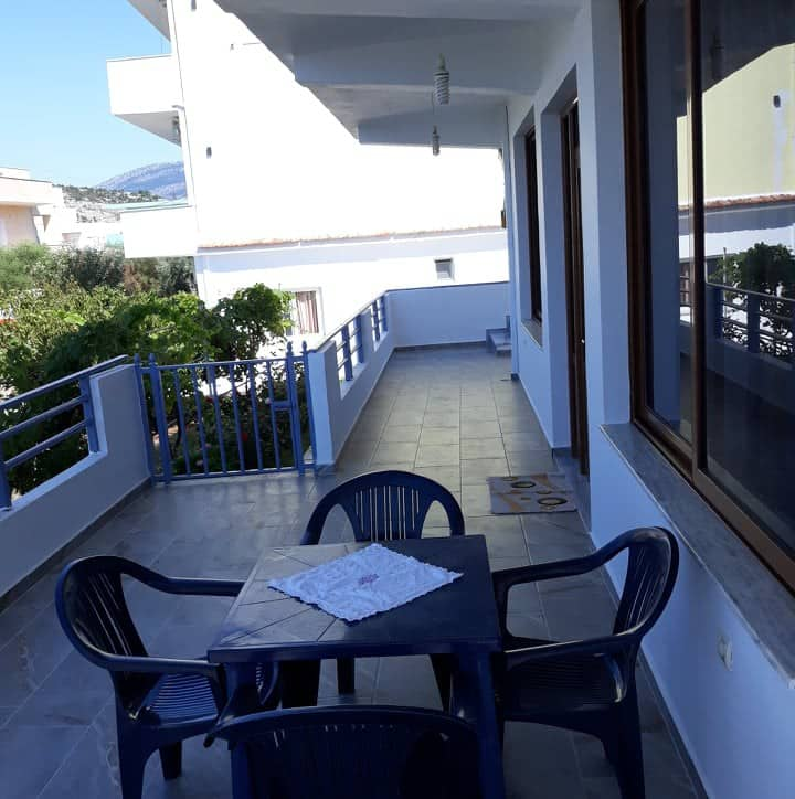 4 people +baby crib. Ionian sea view & parking.