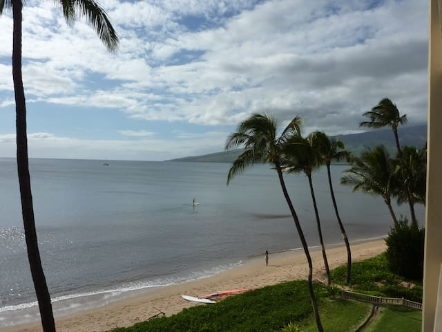 West view from our lanai of Sugar Beach's six mile soft sandy beach.  You can see the windmills.