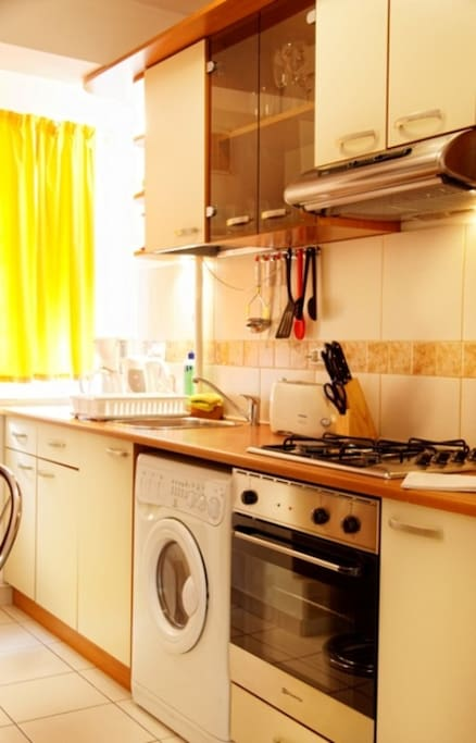 Fully equipped kitchen with appliances, such as cooking stove, hood, microwave oven, toaster, coffee maker, refrigerator
