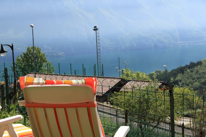 Iseo lake. Garden and lake view - Fonteno