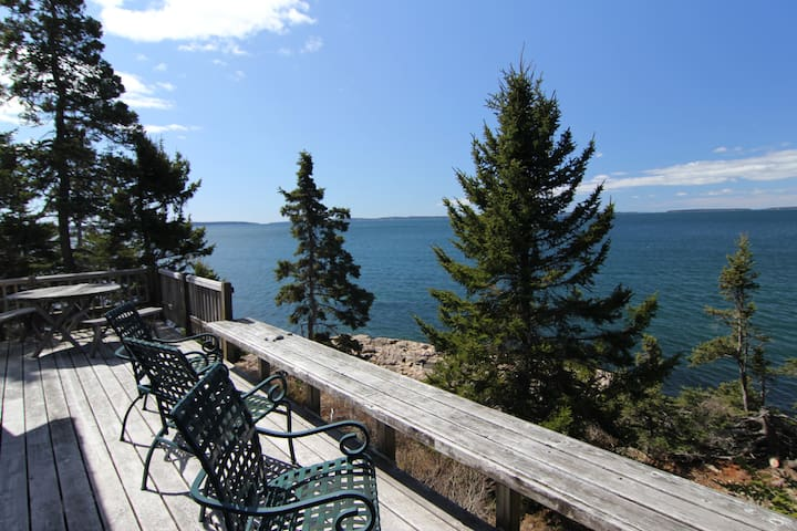 Paul's Cottage Deck - on the shore of Blue Hill Bay