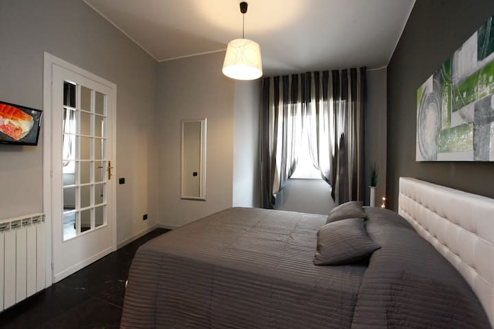 The master bedroom with ensuite bathroom