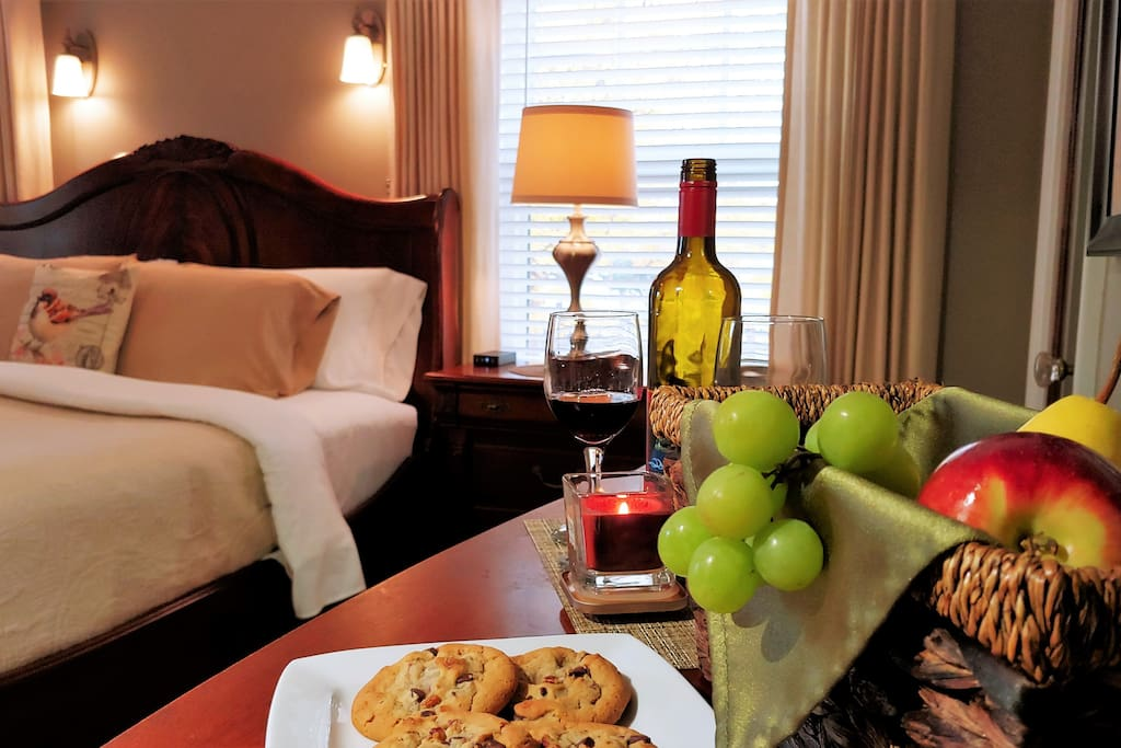 Welcome snacks, cookies, fruit and bottled water. Bring your favorite bottle of wine, glasses and opener provided.