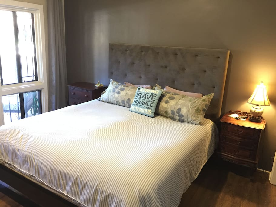 Your yummy KING bed with a new pillow-top mattress, bamboo sheets and four lush pillows! Plus, a new ceiling fan to ensure you stay comfy!