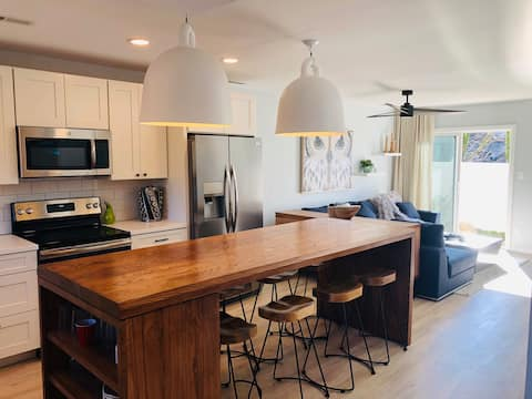 New kitchen with 9 ft butcher block island