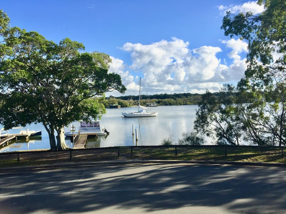 The view directly outside your bedroom window. Beautiful Noosa river and parkland.