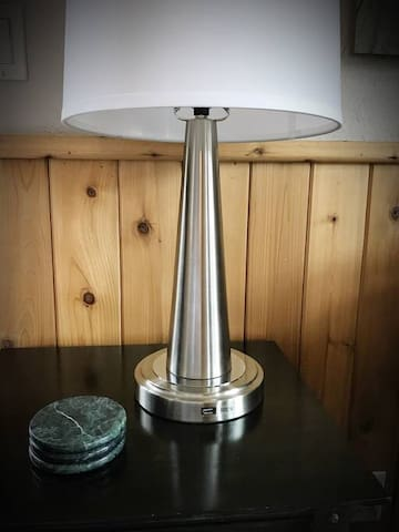 lamp with USB charger port