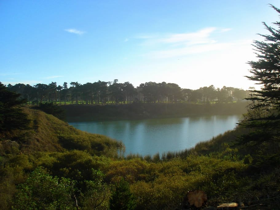 Lake merced is a minute away and has great space to run!