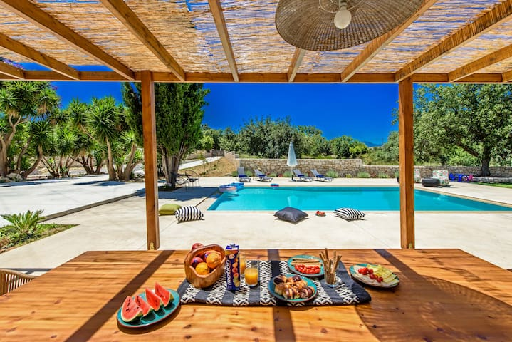 Shaded dining and BBQ area by the pool!