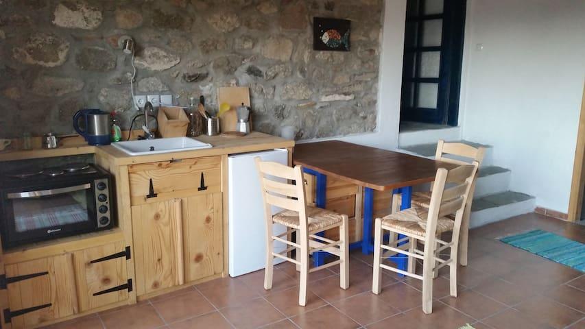 Stein und Holz: Küchenzeile und Essplatz