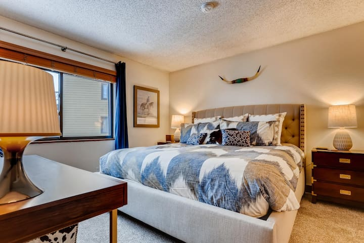 Main floor master retreat boasts a ridiculously comfortable king size bed with brand new mattress and bedding, flat screen smart TV, ensuite bathroom and room darkening curtains.