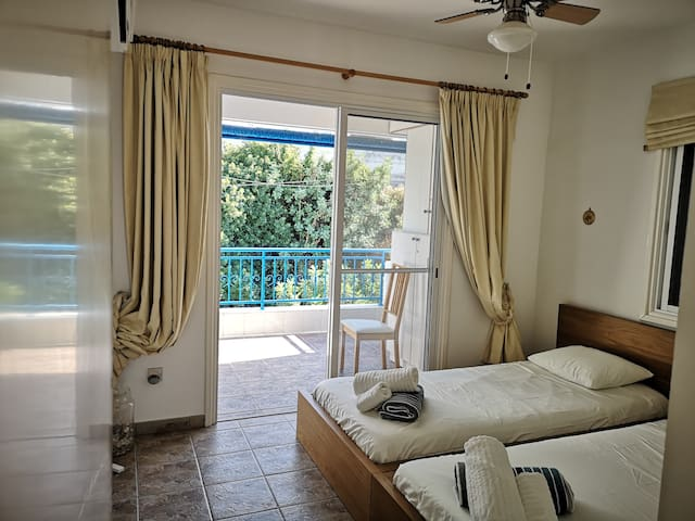 Second bedroom - one window with sea view and balcony to the rear of the Complex