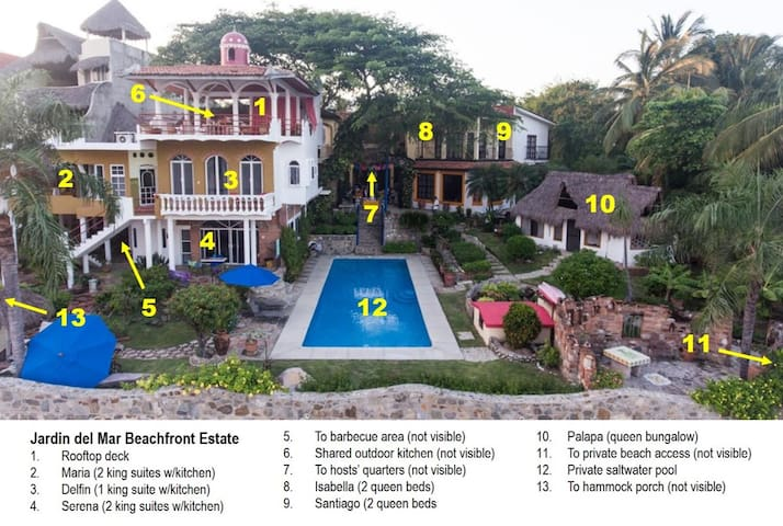 """Property Layout by guest suite (""""Casa"""")"""