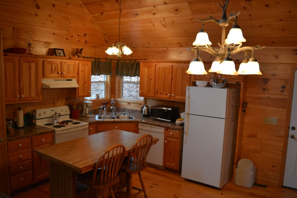 Open kitchen with everything you need to make a gourmet meal in the woods