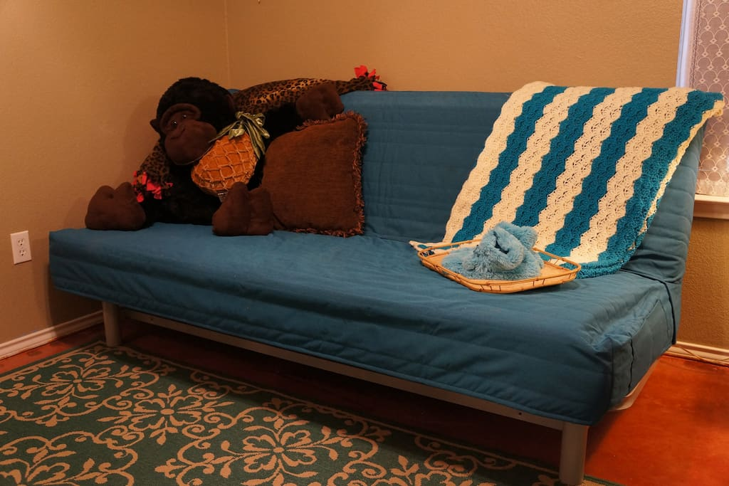 Bedroom with futon (folded up as couch)