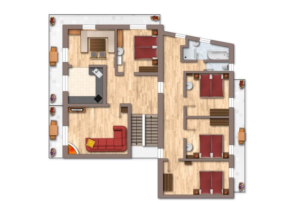Skizze Appartement Bernhard