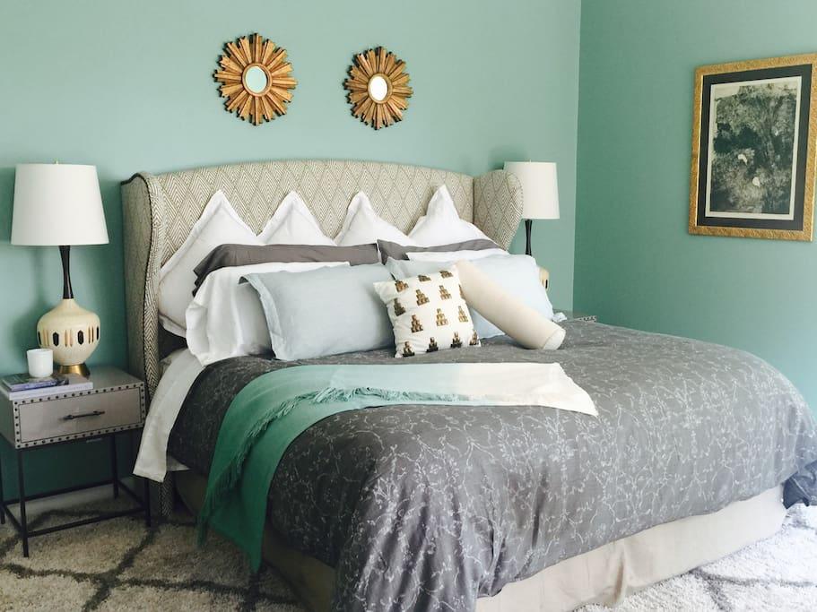 Master Bedroom with King Size bed. Restoration Hardware bedding.