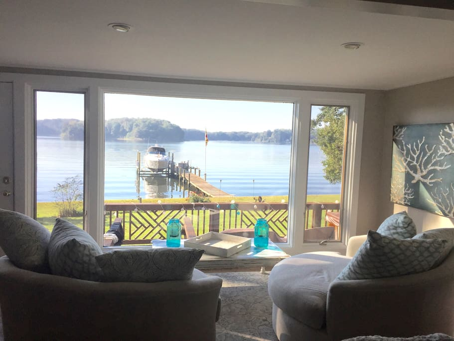 Waterfront views from sitting area off living room.