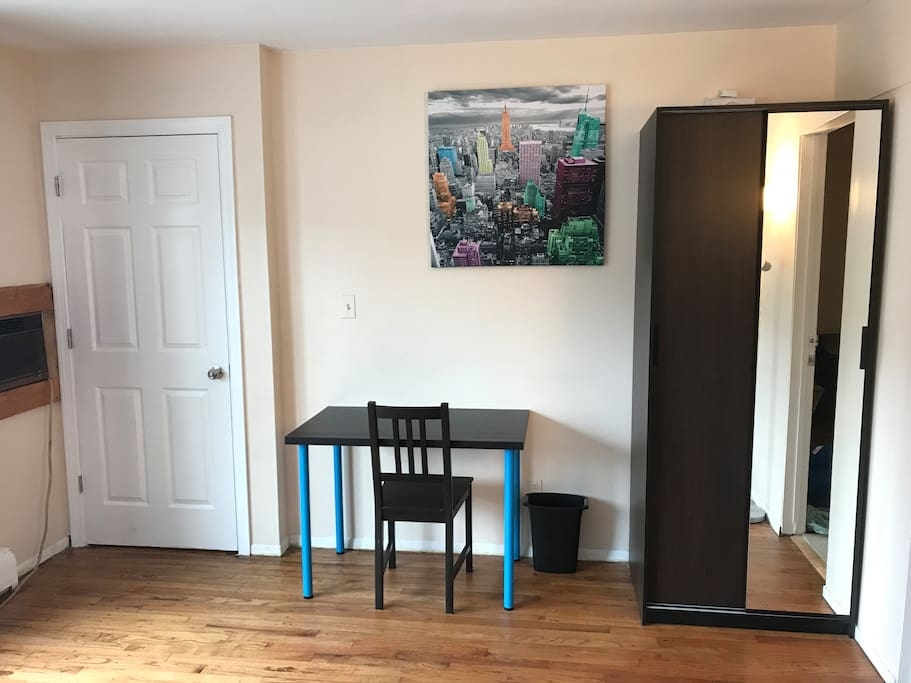 Room is Very big, it has a nice size computer table. Closet with a full length mirror
