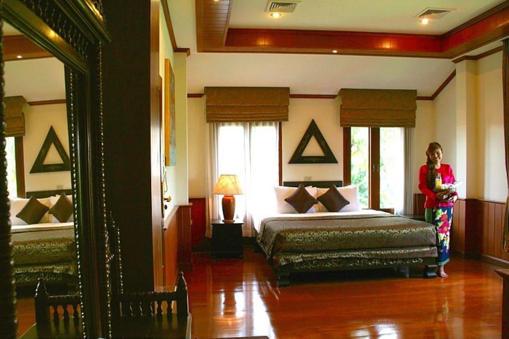 Teak-wood floor 1st bedroom