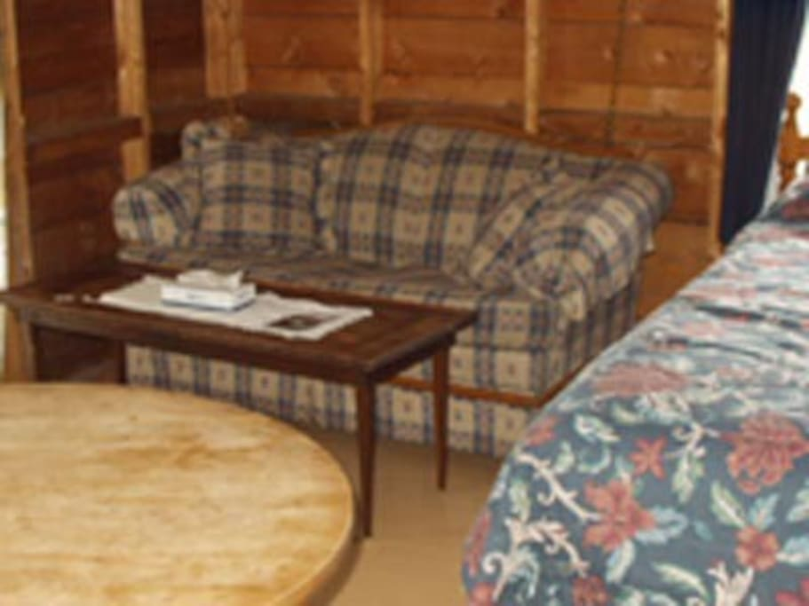 Charming one room cottage with queen sized bed.